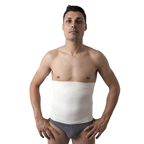 Beman® - termocintura fascia anallergica pancera unisex uomo donna calda lana merinos - interno cotone sulla pelle h.31 - art.557 (bianco, 5)