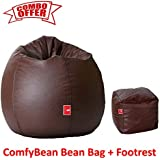 ComfyBean Bean Bags Combo Size XXL Brown Filled with Bean Filler and Brown Bean Bag Footrest
