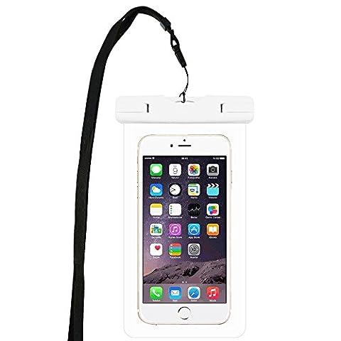 WindTeco Certifiée IPX8 Pochette Sac étanche Universel Waterproof Case Bag Housse Coque Etui pour Smartphones de Taille Égale et Inférieure à 6'', idéal pour natation, la plage, pêche, la randonnée, (Blanc)