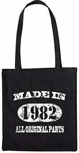 Mister Merchandise Tote Bag Made in 1982 All Original Parts 33 34 Borsa Bagaglio , Colore: Nero Nero