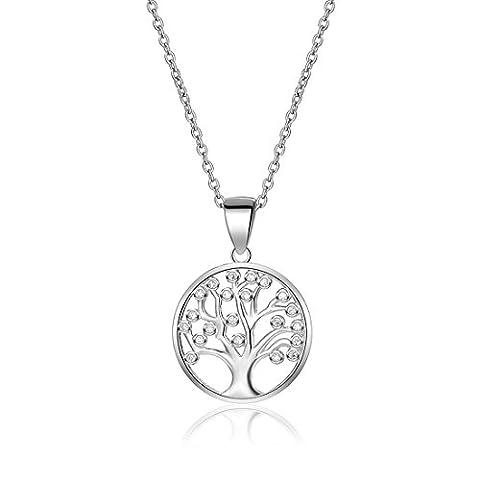Baum des Lebens Halskette 925Sterling Silber AAA Cubic Zirkon Ketten Family Tree Yggdrasil Anhänger Halskette für Frauen mit Geschenk-Box 44,5cm
