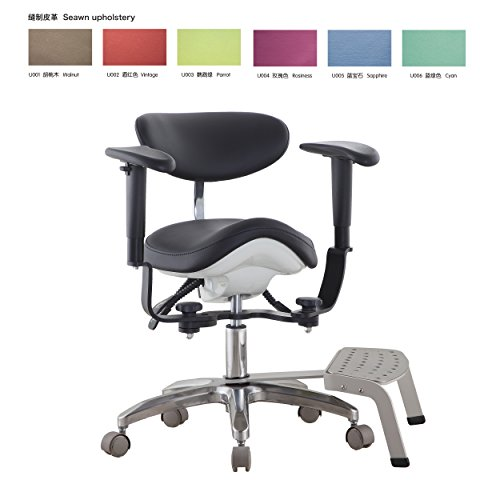 bonew Dental Medical Stuhl DYNAMIC Hocker Pedal Boden mit Rückenlehne PU Leder ds-pb1