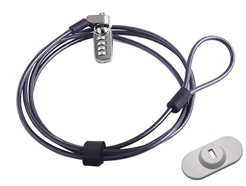 caleqi Laptop Kabel Schloss Hardware Sicherheit Kabel Lock Anti Diebstahl Lock mit für Alle Desktops, Laptops, MacBook, iPad, iPhone und projectors- 2m Kabel Schwarz