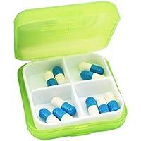 TINGSU Mini-Medikamentenbox mit 4 Fächern, tragbar, klein, Grün preisvergleich bei billige-tabletten.eu