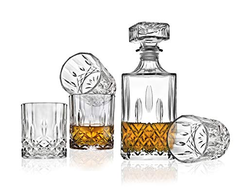 Godinger Whiskey Dekanter und Tumbler Gläser Bar Set - für Scotch Whisky Wein oder Wodka Glas Cocktail Decanter