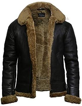 Brandslock Para hombre del aviador B3 Mundial 2 guerra real de piel de oveja de piel de oveja chaqueta de vuelo