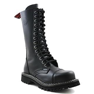 ANGRY ITCH - 14-Loch Gothic Punk Army Ranger Armee Leder Schwarz Stiefel mit RV & Stahlkappe - Größen 36-48 - Made in EU!, EU-Größe:EU-38