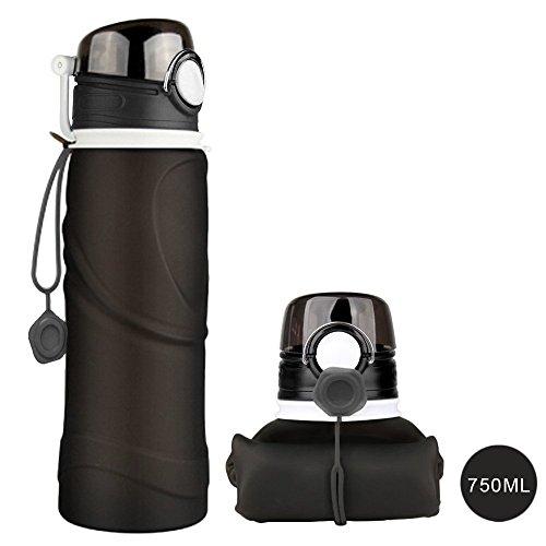 HIKEEP BPA-freie Faltbare Trinkflasche, medizinisches Silikon 750ML Wasserflasche, tragbar, Auslaufsichere und FDA Geprüft für Outdoor, Reisen, Radfahren (Schwarz)