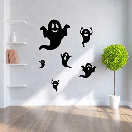 BHLTG Wandaufkleber Halloween Schwarz Scary Ghost Muster Kinderzimmer Hintergrund Wanddekoration Tapete 85 cm * 68 cm