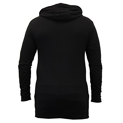 Herren Lange Linie Mit Kapuze Jersey Oberteil Soul Star Halbrunder Saum T-shirt Mode Neu Schwarz - LIBERALPKB