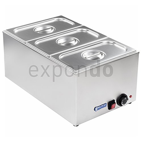 Royal Catering - RCBM-1 - Bain Marie 1/3 - max 95°C - 230 Volt - 1200 Watt - 150mm depth - 3x1/3 GN-containers Test
