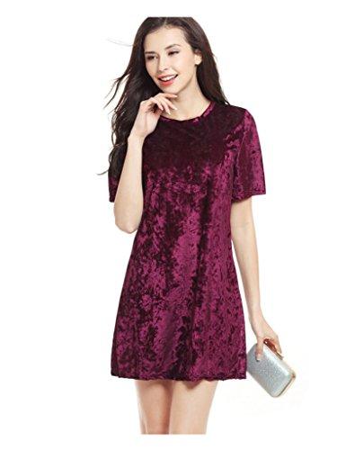 Bestgift Damen Elegan Samt Kurzarm A-Linie Kleid Minikleid Wein Rot