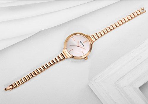 ETEVON Women's Quartz Rose Gold Armband Uhr mit High-End Edelstahl Case, elegante Luxus-Gold-Tone Kleid Handgelenk Uhren für Damen - 6