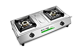 Big Flame Silver color LPG Gas Stove Two Burner Standard size