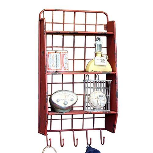 JCNFA Schwimmende Regale Hängender Korb Wire Wall Grid LOFT Industrienostalgie Vintage Schmiedeeisen Rack 5 Haken Lagerung (Color : Red, Size : 15.74 * 8.66 * 29.52in) -