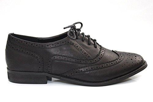 Femme Fille Travail Bureau style vintage Noir école Richelieu chaussures taille 3–8 Noir - noir