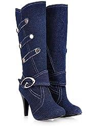Bottes à genou 8cm Stiletto Knight Bottes Femmes Pointed Toe Denim Ceinture Boucle Rivets Sneakers Taille de l'Europe 32-42
