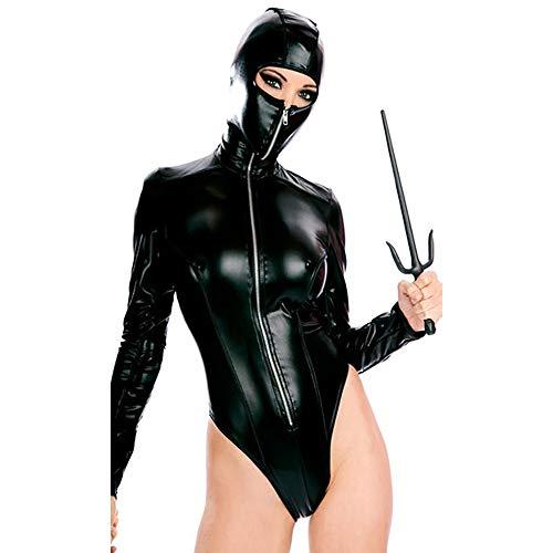 Krieger Frauen Kostüm Ninja - Miss finger Cosplay Japanisches Ninja Kostüm, Halloween Gladiator Krieger Leder