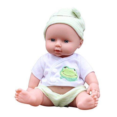 Ouneed- Baby Emulated Puppe Weiche Kinder Reborn Baby Doll Spielzeug Jungen Mädchen Geburtstagsgeschenk (Grün)