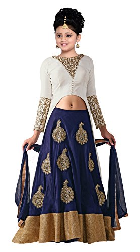White Button New Girl's Designer Heavy Embroidery White Dhupion With Blue Velvet...