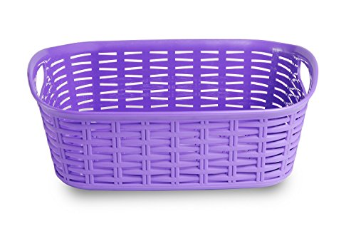 All Time Plastics Rattan Plastic Shelf Basket, 3 Litres, Elegant Purple
