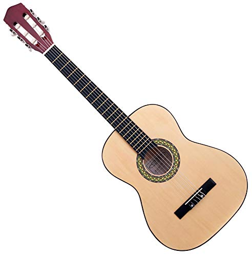 Classic Cantabile Acoustic Series AS-851-L Klassikgitarre 3/4 für Linkshänder (Kinder, Schüler, Einsteiger, 6 Saiten, Konzertgitarre, Akustikgitarre) natur