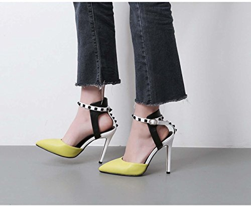 NobS Mode pointues dames à talons hauts remous unique chaussures pointues bouche superficielle lutte contre la couleur Yellow