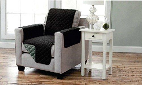 Sesselschoner zweiseitiger Sesselüberwurf Sesselauflage Polsterschutz Sesselbzug - gesteppt mit Armlehnen und drei Taschen - Größe: 1-Sitzer ca. 191 x 165 cm - Farbe: Schwarz/Anthrazit