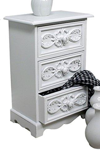 Cómoda pequeño mueble auxiliar 3cajones blanco antiguo joyas–Cómoda Landhaus Rosali