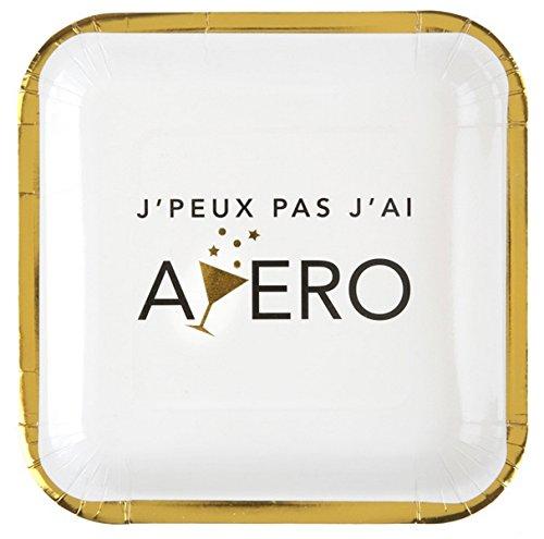 Chal - 10 Assiettes en Carton thème Apero