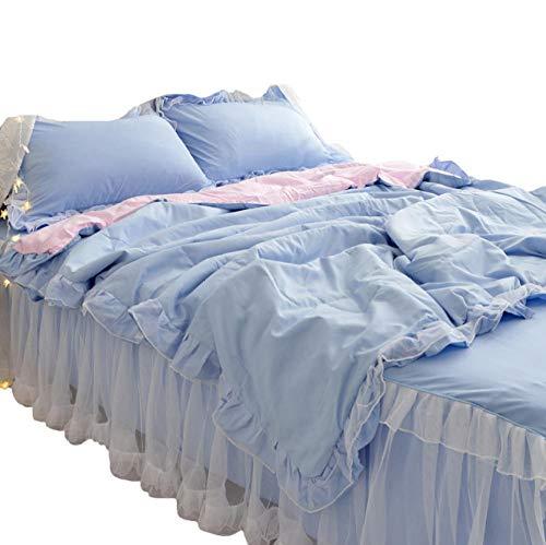 ZCBMA Bettwäschesatz Von Vierprinzessin Wind Bett Rock Vierteilige Baumwolle Bettbezug Weiße Gaze Spitze Student Bettwäsche -