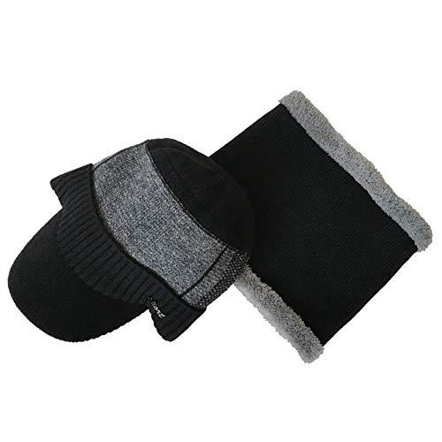 Harrell Mütze Handschuhe Set, Wintermütze, warm, gestrickt, Einheitsgröße für Reisen/Wandern/Camping/Angeln/Radfahren/Skifahren/Laufen/Zuhause/Büro, Schwarz
