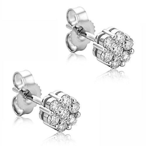 Orovi Ohrstecker Diamant Ohrringe Set,Damen Weißgold Ohrstecker 14 Karat (585)Brillanten 0.38crt (Diamant-ohrringe Set)