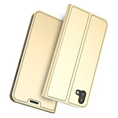 futypei für Fujitsu Arrows U 801FJ Hülle, Slim Leder Flip Case [Stoßfest] [Kartensteckplatz] Magnetisch Ledertasche Handyhülle Schutzhülle Tasche Brieftasche Etui für Fujitsu Arrows U 801FJ Golden