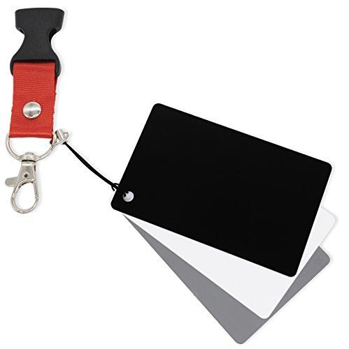 MyGadget Weißabgleich Fotozubehör - 3X Graukarte (weiß grau schwarz) Balance Karten für Digitale Kamera Fotografie & Video z.B. mit Canon, Sony, Nikon (Belichtungsmesser, Nikon)