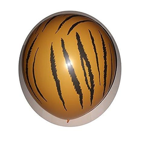 Lot 10 Ballons Tigre Orange Noir 31cm Decoration Mariage - 063
