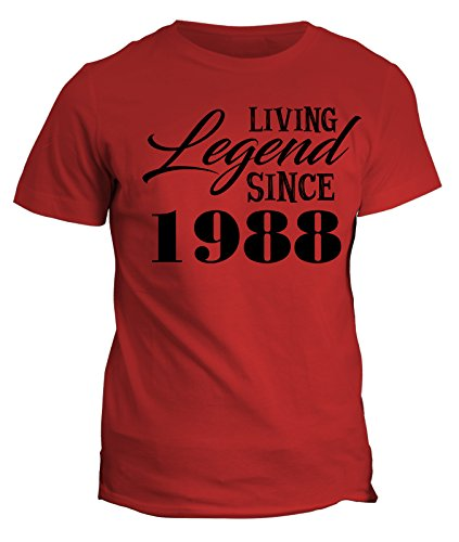 Tshirt Living legend since 1988 - idea regalo - happy birthday - in cotone by Fashwork Rosso
