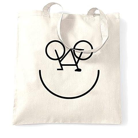 Fahrrad-Smiley, Printed Designer Logo Neuheit Radfahrer Kunstsommer Tragetasche