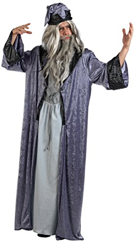 Zauberer Herren Kostüm - Mascarada  MA618 - Zauberer Merlin Kostüm Herren 2-Teilig, Gewand und Zaubererhut - XL