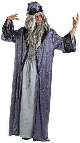 Kostüm Merlin Zauberer - Mascarada  MA618 - Zauberer Merlin Kostüm Herren 2-Teilig, Gewand und Zaubererhut - XL