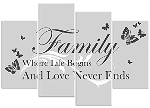 Butterfly - 'Family Where Life Begins' - Grey - 4 Panel - Love Quote Words Canvas Art Print Picture - Overall Size 104cm x 69cm - Framed and Ready to Hang - Please Choose Your Colour from the Selection Boxes - by Rubybloom Designs