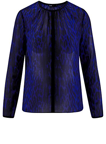 oodji Ultra Damen Bluse Aus Fließendem Stoff mit Kontrastbesatz Blau (7829A)