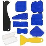 Strumento sigillante siliconico, ZoomSky 9pcs Kit sigillante siliconico per silicone con raschietto e strumento di rimozione del sigillante per lavello da cucina (Blu)