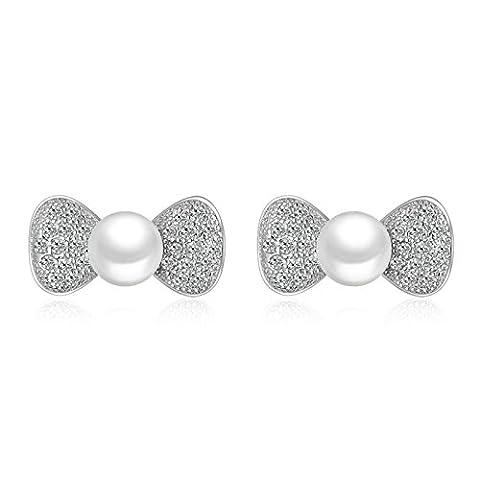 Onefeart Weiß Vergoldet Ohrstecker Für Frauen,ABS Imitation Perle Pave Zirkonia Schmetterling Bow