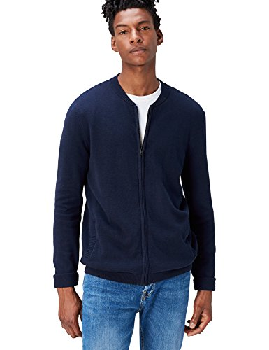 FIND Herren Bomber-Strickjacke, Blau (Navy), X-Large (Crew Sleeve Frühling Long)