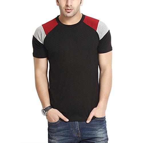 Gritstones Men's Round Neck T-Shirt (GS60212HSBLK (1)_Black _X-Large)