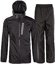 Little Beauty Men's Rain Suit Waterproof Hooded Rain Jacket Rainwear (Jacket & Trous