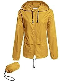 b85c44a6a63 Chaqueta Impermeable Mujer Abrigo Manga Larga Chubasquero Deporte Portable  Seco Rápido Rompevientos