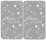 Wenko 2521475500 Herdabdeckplatte Universal Sterneküche für alle Herdarten, Gehärtetes Glas, 2-er Set, grau, 52 x 30 x 4,5 cm