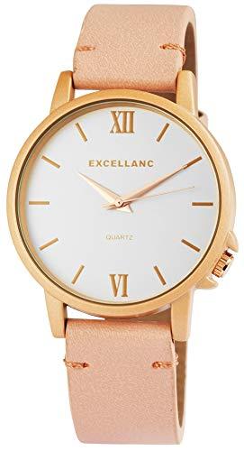 Excellanc Damenuhr Weiß Braun Gold Analog Metall Leder Quarz Armbanduhr